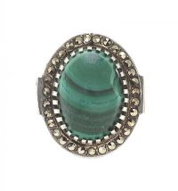 SILVER RING SET WITH MALACHITE AND MARCASITE at Ross's Auctions