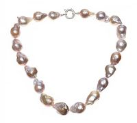 STRAND OF LARGE PINK BAROQUE FRESHWATER PEARLS at Ross's Jewellery Auctions