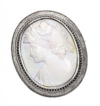 LARGE SILVER-MOUNTED CAMEO BROOCH at Ross's Jewellery Auctions