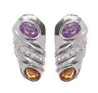 18CT WHITE GOLD AMETHYST, CITRINE AND DIAMOND EARRINGS IN THE STYLE OF BVLGARI at Ross's Jewellery Auctions