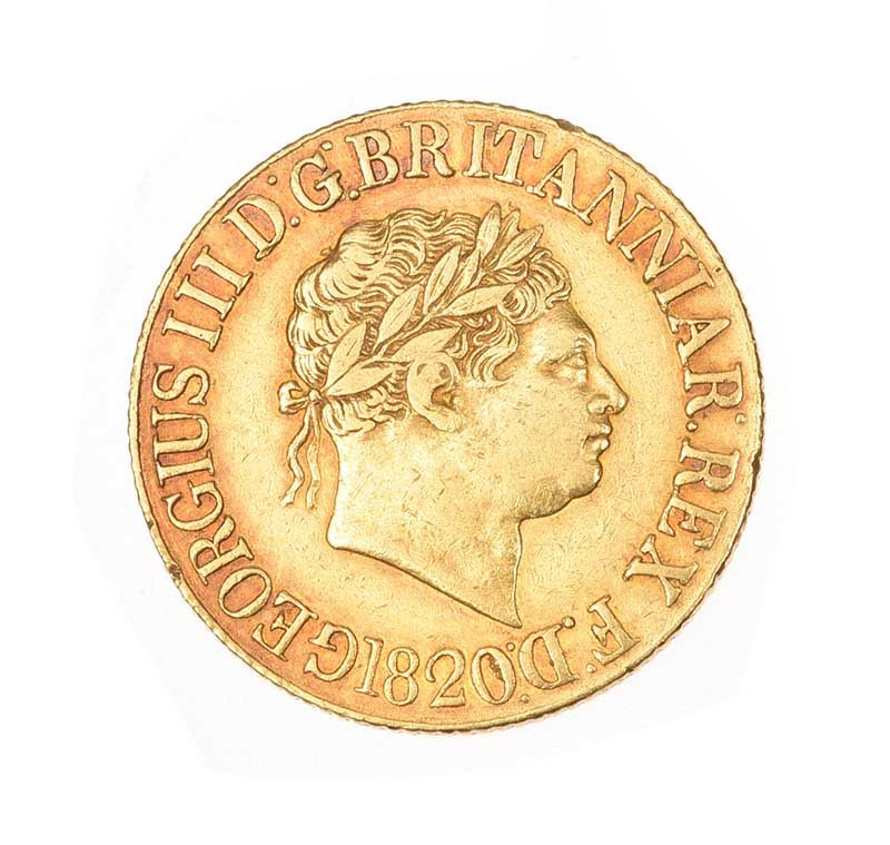 1820 BOXED GEORGE III FULL SOVEREIGN 22CT GOLD at Ross's Online Art Auctions
