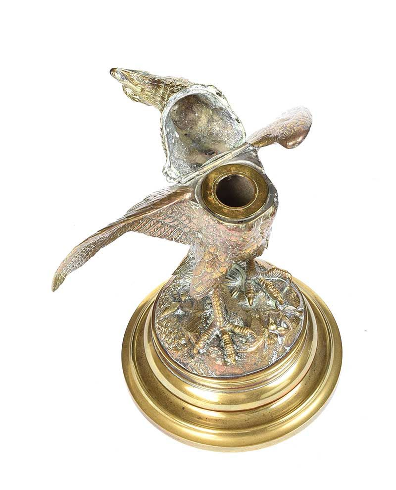 19TH CENTURY BRASS EAGLE INK WELL at Ross's Online Art Auctions