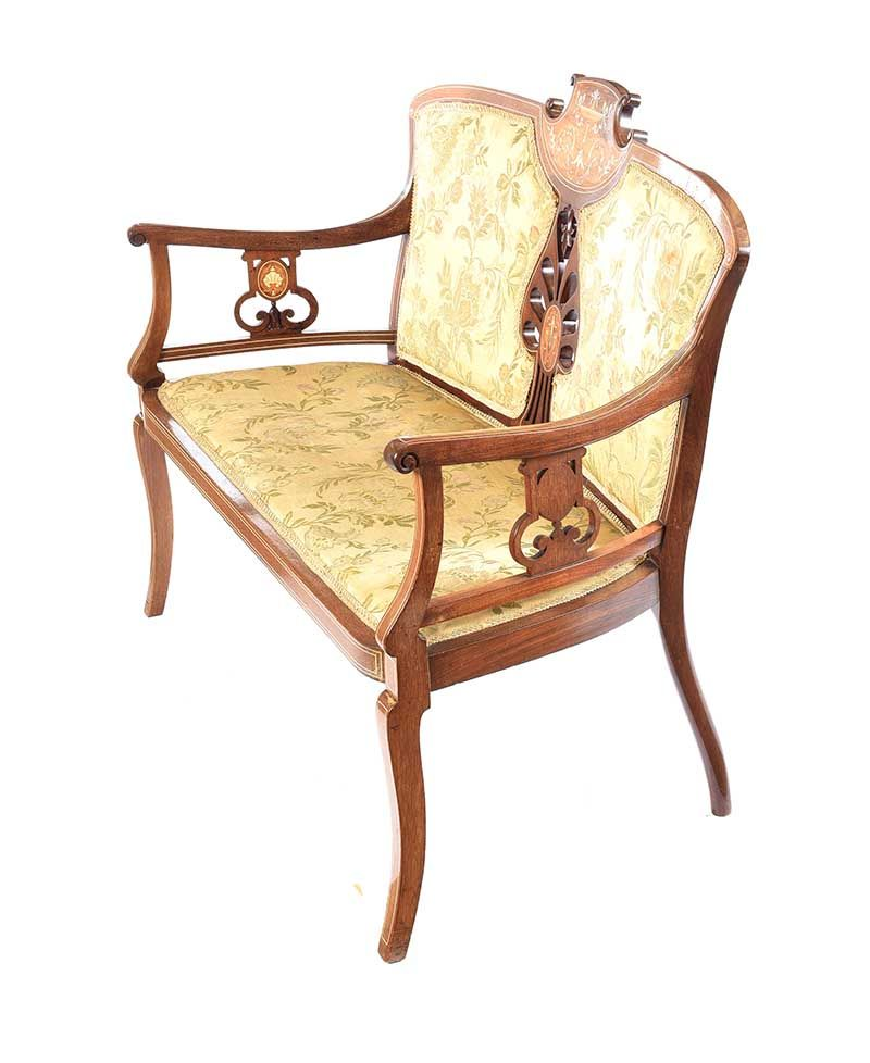 EDWARDIAN INALAID MAHOGANY SETTEE at Ross's Online Art Auctions
