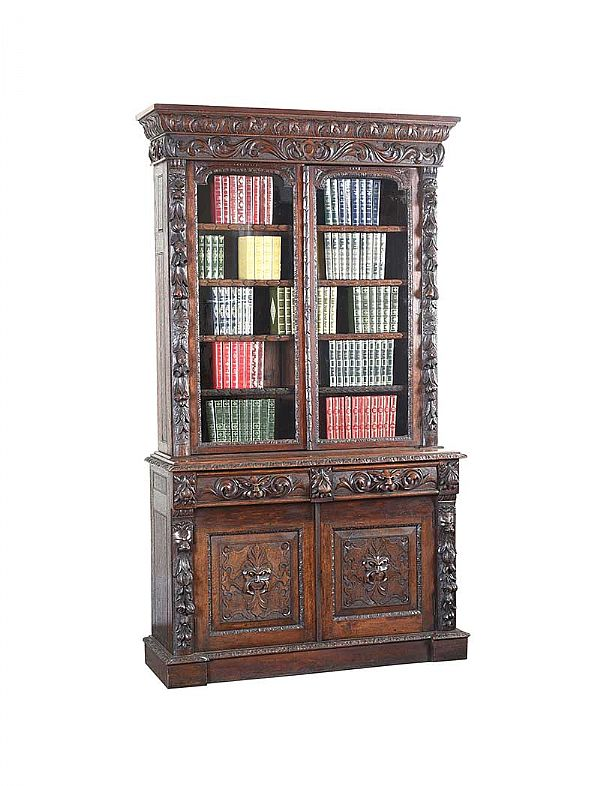 VICTORIAN CARVED OAK BOOKCASE at Ross's Online Art Auctions
