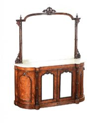 VICTORIAN INLAID BURR WALNUT MIRROR BACK CREDENZA at Ross's Auctions
