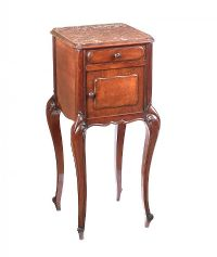 VICTORIAN MAHOGANY MARBLE TOPPED BEDSIDE CABINET at Ross's Auctions