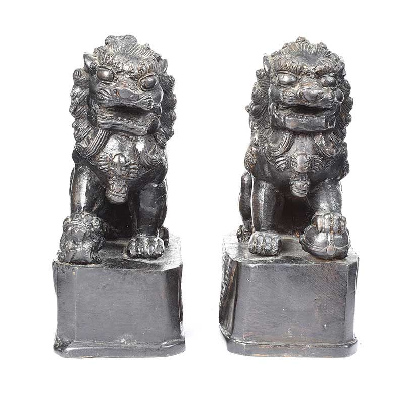 PAIR OF BRONZE FOO DOGS at Ross's Online Art Auctions