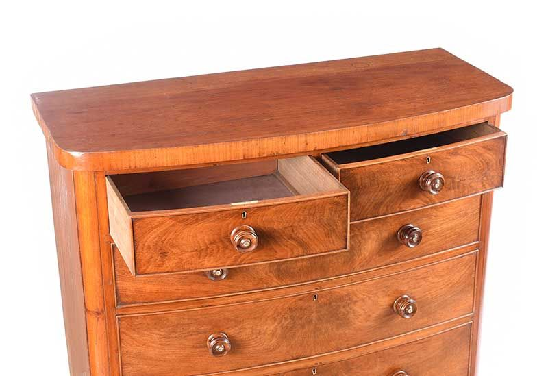 VICTORIAN BOW FRONTED CHEST OF DRAWERS at Ross's Online Art Auctions
