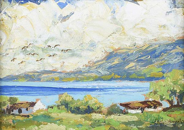 COTTAGE ON THE ANTRIM COAST by Gladys Maccabe HRUA at Ross's Online Art Auctions