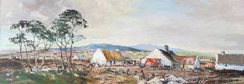 IRISH THATCHED COTTAGE & FARM BUILDINGS by Gerald Walby at Ross's Auctions