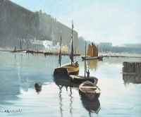 HARBOUR, CORNWALL by F.R. Fezzandil at Ross's Auctions