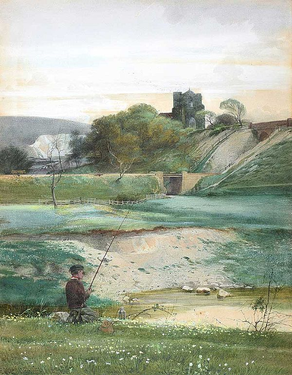 LANDSCAPE WITH CHURCH, SURREY by Edward Henry Fahey RI at Ross's Online Art Auctions