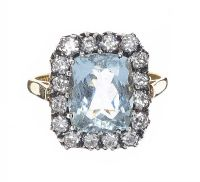 18CT GOLD AQUAMARINE AND DIAMOND RING at Ross's Auctions