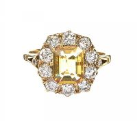 18CT GOLD YELLOW SAPPHIRE AND DIAMOND RING at Ross's Auctions