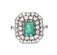WHITE GOLD EMERALD AND DIAMOND RING at Ross's Jewellery Auctions