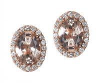 18CT ROSE GOLD MORGANITE AND DIAMOND EARRINGS at Ross's Auctions