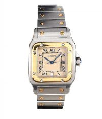 CARTIER MID-SIZE SANTOS STAINLESS STEEL AND GOLD WRIST WATCH at Ross's Auctions