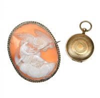 CAMEO BROOCH AND GOLD TONE LOCKET at Ross's Jewellery Auctions