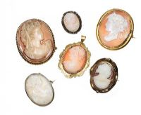 SIX ASSORTED CAMEO BROOCHES at Ross's Jewellery Auctions