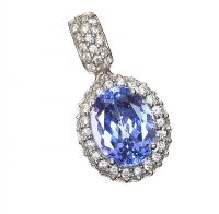 18CT WHITE GOLD TANZANITE AND DIAMOND PENDANT at Ross's Auctions