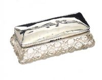 SILVER AND CUT GLASS TRINKET BOX at Ross's Jewellery Auctions