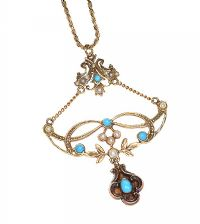 15CT GOLD TURQUOISE AND SEED PEARL PENDANT ON 9CT GOLD CHAIN at Ross's Jewellery Auctions