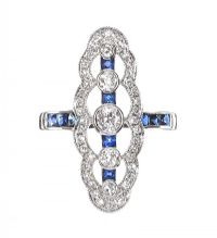 18CT WHITE GOLD SAPPHIRE AND DIAMOND RING at Ross's Auctions