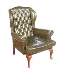 VINTAGE GREEN LEATHER ARMCHAIR at Ross's Auctions