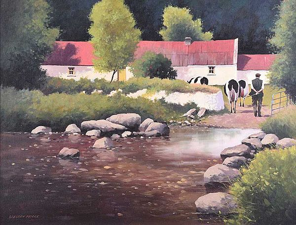 MILKING TIME by George Moore at Ross's Online Art Auctions