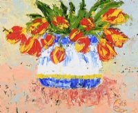 RED & YELLOW TULIPS by Lynda Cookson at Ross's Auctions