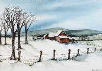 WINTER FARM IN BERKSHIRES, MASSACHUSETTS by Phyllis Del Vecchio at Ross's Auctions