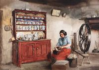 AT WORK IN AN IRISH COTTAGE by Frank Egginton RCA FIAL at Ross's Auctions
