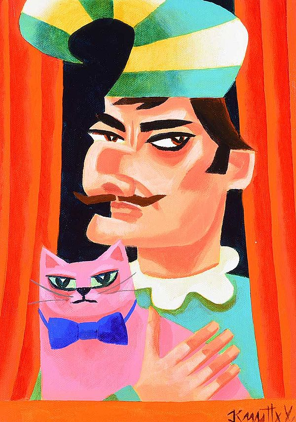MR PUNCH WITH PINKO THE CAT by Graham Knuttel at Ross's Online Art Auctions
