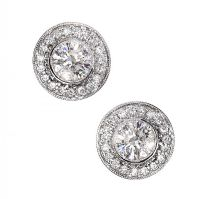 18CT WHITE GOLD DIAMOND CLUSTER EARRINGS at Ross's Auctions