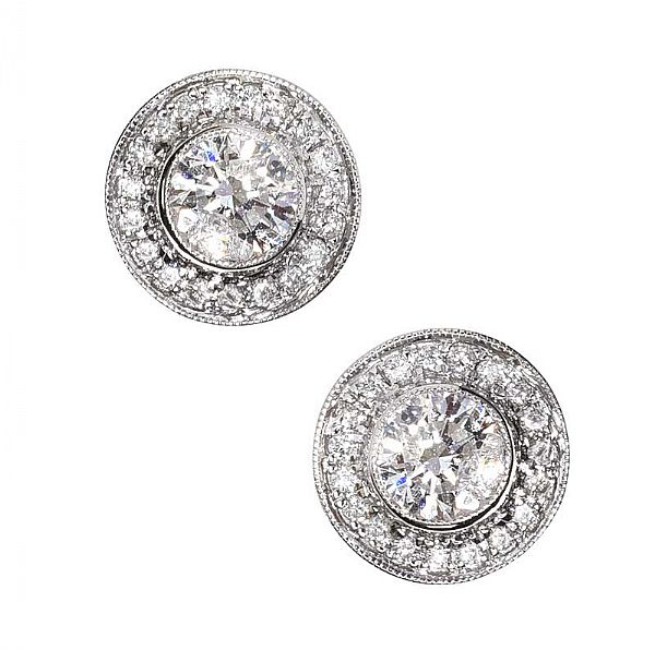 18CT WHITE GOLD DIAMOND CLUSTER EARRINGS at Ross's Online Art Auctions