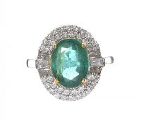 18CT WHITE GOLD EMERALD AND DIAMOND CLUSTER RING at Ross's Jewellery Auctions