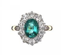 18CT GOLD AND PLATINUM EMERALD AND DIAMOND RING at Ross's Jewellery Auctions