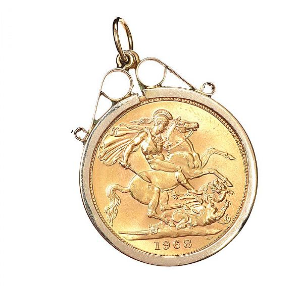 9CT GOLD MOUNTED SOVEREGIN at Ross's Online Art Auctions