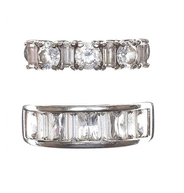 TWO STERLING SILVER CUBIC ZIRCONIA RINGS at Ross's Online Art Auctions