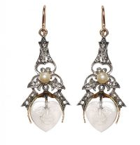 18CT GOLD AND SILVER DIAMOND, PEARL AND ROCK CRYSTAL EARRINGS at Ross's Auctions