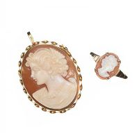 18CT GOLD CAMEO BROOCH/PENDANT AND 9CT GOLD CAMEO RING at Ross's Jewellery Auctions