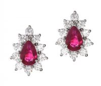18CT WHITE GOLD DIAMOND AND RUBY EARRINGS at Ross's Auctions