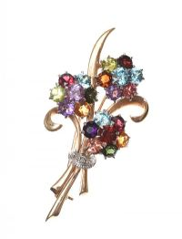 9CT GOLD DIAMOND AND COLOURED STONE BOUQUET BROOCH at Ross's Auctions
