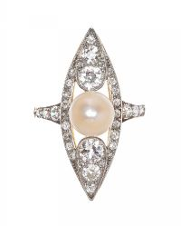 FRENCH GOLD PEARL AND DIAMOND RING at Ross's Auctions
