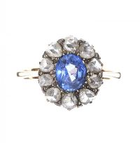 MID-CARAT GOLD SAPPHIRE AND DIAMOND RING at Ross's Auctions