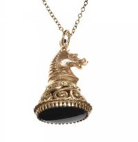 9CT GOLD BLOODSTONE-SET HORSE CHARM AND CHAIN at Ross's Jewellery Auctions