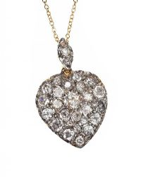 HIGH-CARAT GOLD AND SILVER DIAMOND HEART NECKLACE at Ross's Auctions