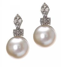 18CT WHITE GOLD DIAMOND AND FRESHWATER PEARL EARRINGS at Ross's Auctions