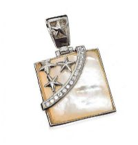 STERLING SILVER MOTHER OF PEARL AND CUBIC ZIRCONIA PENDANT at Ross's Jewellery Auctions