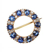 HIGH CARAT SAPPHIRE AND DIAMOND BROOCH at Ross's Auctions